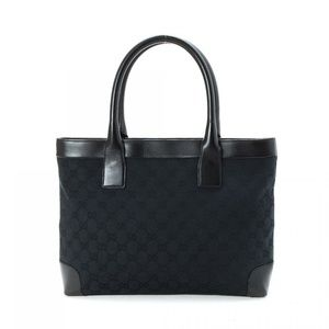 Gucci Black Canvas GG Tote with Leather Accents